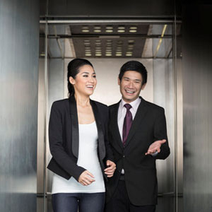 Couple in an elevator